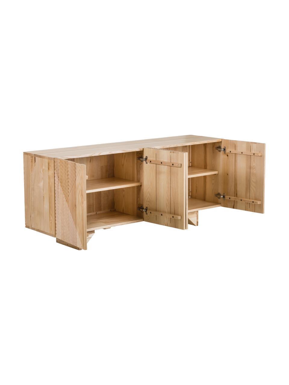 Komoda z litego drewna jesionowego z drzwiczkami Louis, Drewno jesionowe, S 177 x W 75 cm