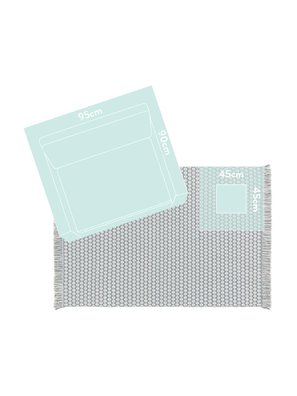 Dywan wewnętrzny/zewnętrzny z frędzlami w stylu etno Morty, 100% poliester (tworzywo PET z recyklingu), Niebieski, złamana biel, S 80 x D 150 cm (Rozmiar XS)