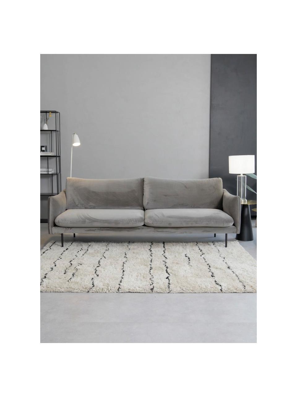 Sofa z aksamitu z metalowymi nogami Moby (3-osobowa), Tapicerka: aksamit (wysokiej jakości, Stelaż: lite drewno sosnowe, Nogi: metal malowany proszkowo, Aksamitny szarobrązowy, S 220 x G 95 cm