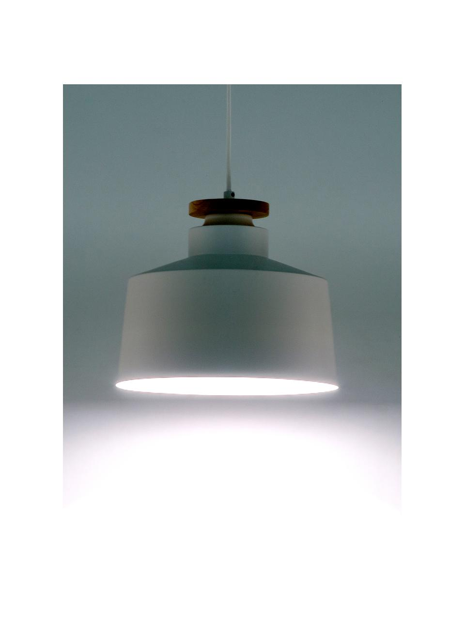 Skandi-Pendelleuchte Malm, Lampenschirm: Metall, Dekor: Holz, Baldachin: Metall, Weiß, Ø 30 x H 26 cm
