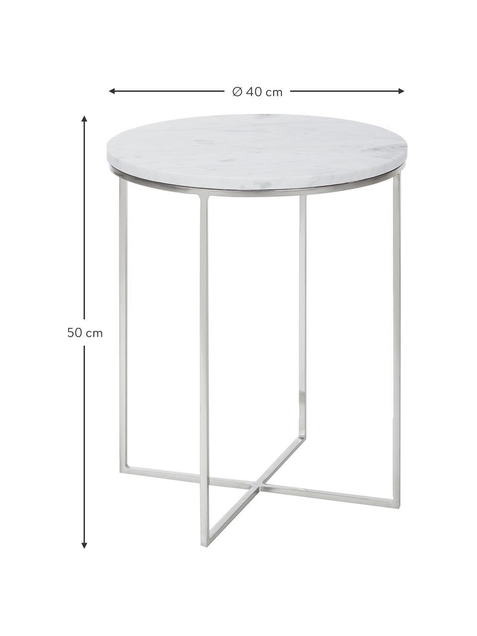 Tavolino rotondo con piano in marmo Alys, Struttura: metallo verniciato a polv, Piano: marmo bianco-grigio leggermente lucido Struttura: argentato opaco, Ø 40 x Alt. 50 cm