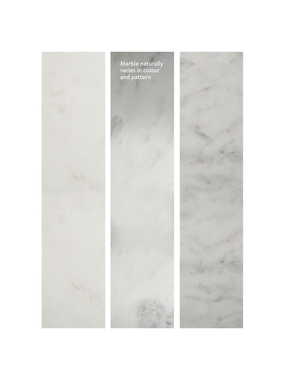 Runder Marmor-Beistelltisch Alys, Tischplatte: Marmor, Gestell: Metall, pulverbeschichtet, Weißer Marmor, Silberfarben, Ø 40 x H 50 cm