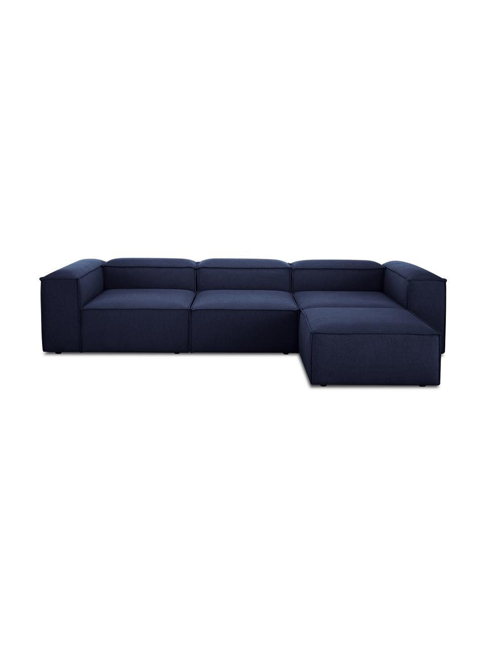 Modulares Sofa Lennon (4-Sitzer) mit Hocker in Blau, Bezug: 100% Polyester Der strapa, Gestell: Massives Kiefernholz, Spe, Füße: Kunststoff Die Füße befin, Webstoff Blau, B 327 x T 207 cm