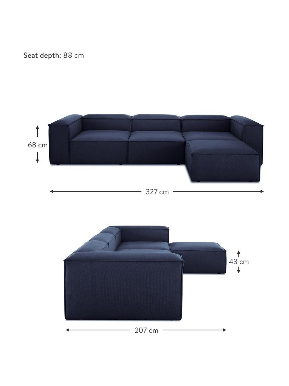Canapé d'angle modulable bleu Lennon, Tissu bleu
