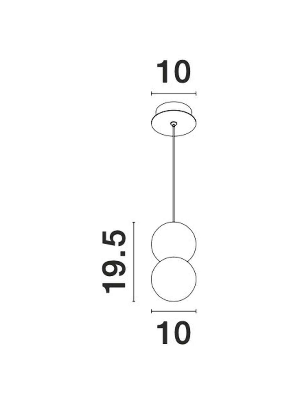 Kleine Pendelleuchte Zero aus Opalglas, Lampenschirm: Terrazzo, Opalglas, Baldachin: Aluminium, beschichtet, Weiß, Grau, Ø 10 x H 20 cm