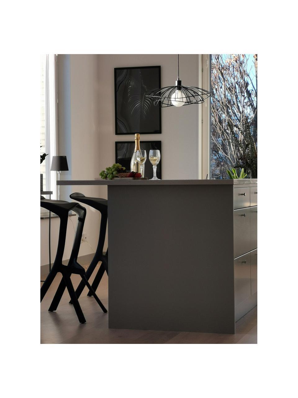 Lampada a sospensione di design Ray, Paralume: metallo rivestito, Baldacchino: metallo, Nero, Ø 45 x Alt. 25 cm