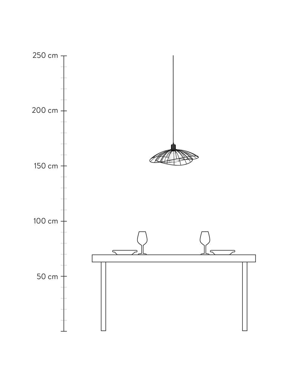 Lampada a sospensione di design Ray, Paralume: metallo rivestito, Baldacchino: metallo, Nero, Ø 45 x Alt. 24 cm