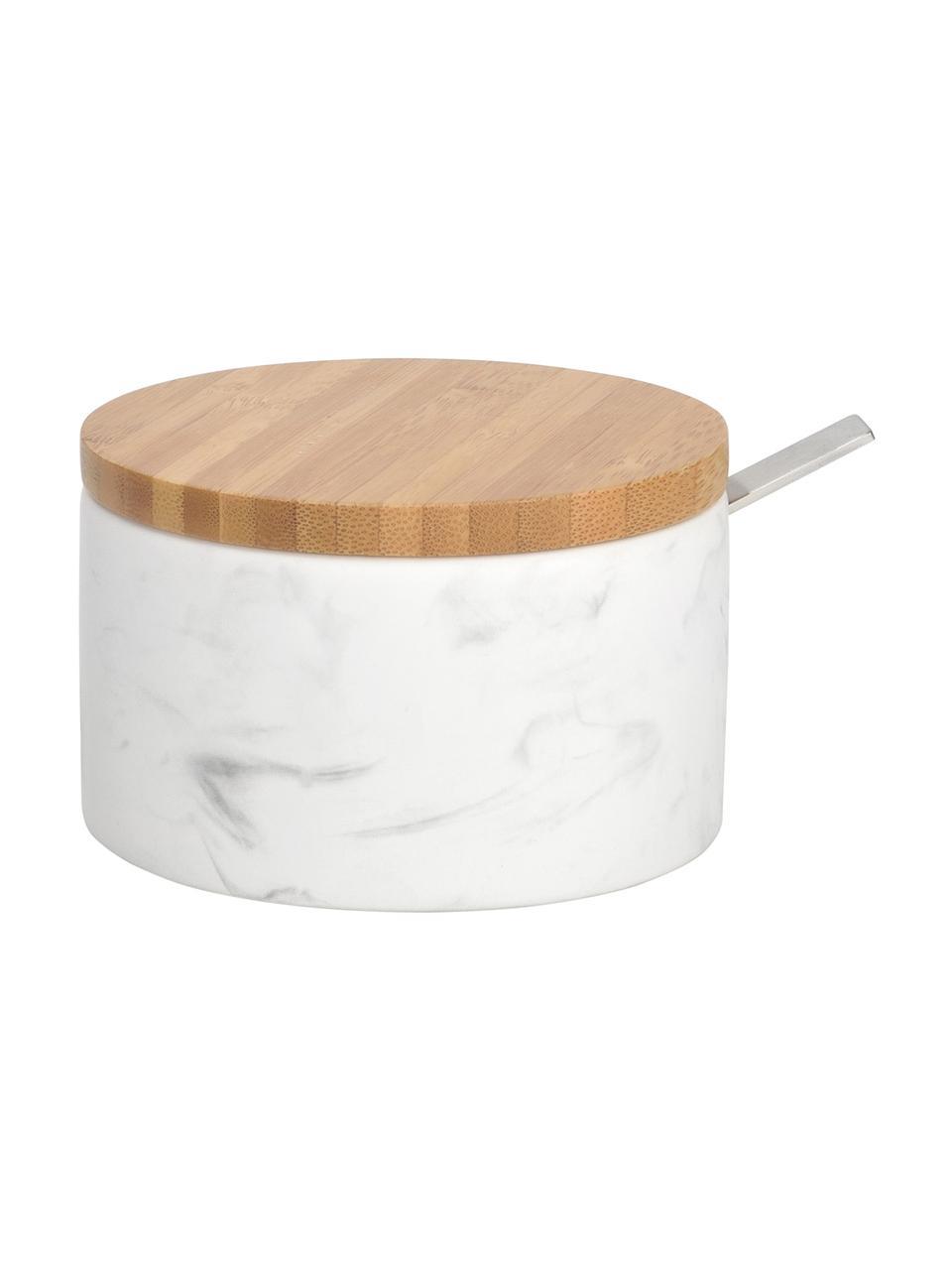 Cukiernica z łyżką z ceramiki Kalina, łyżka: metal, Biały, marmurowy, drewno bambusowe, Ø 13 x W 7 cm