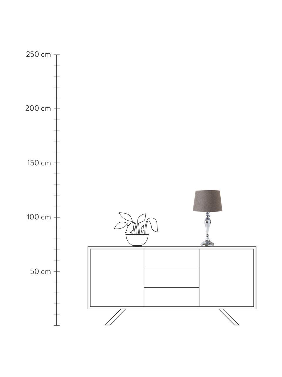 Große Tischlampe Brighton in Chrom, Lampenschirm: Baumwolle, Lampenfuß: Metall, lackiert, Grau, Chromfarben, Ø 25 x H 52 cm