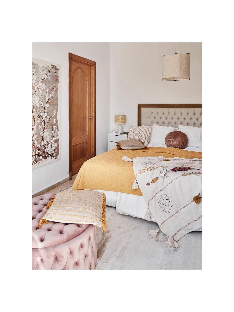 Narzuta z piki Panal, 100% bawełna, Żółty, S 240 x D 260 cm (na łóżka do 160 x 200)