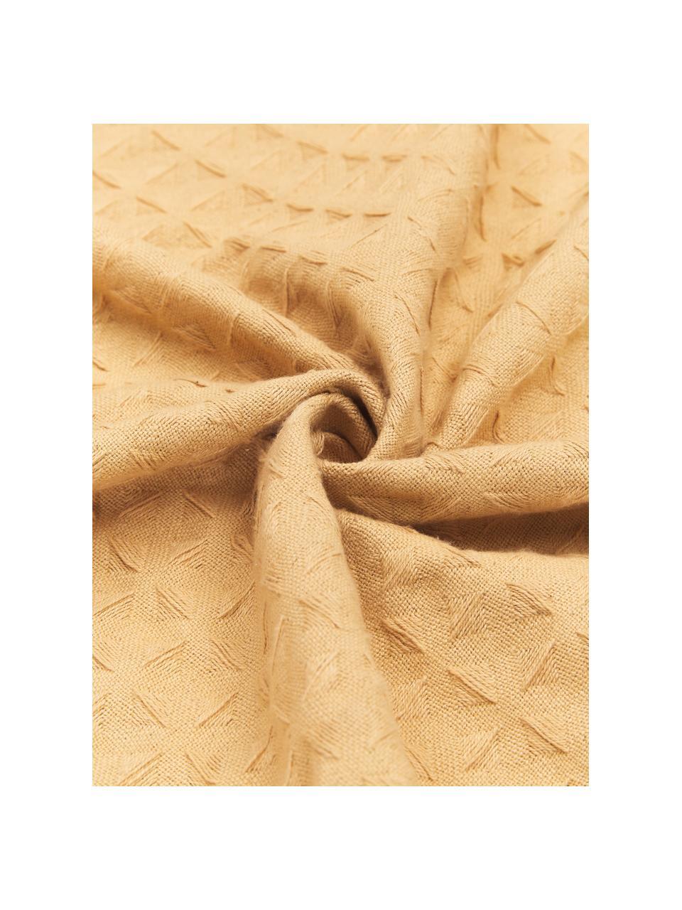Copriletto in cotone a nido d'ape Panal, 100% cotone, Giallo, Larg. 180 x Lung. 260 cm (per letti fino a 160 x 200)