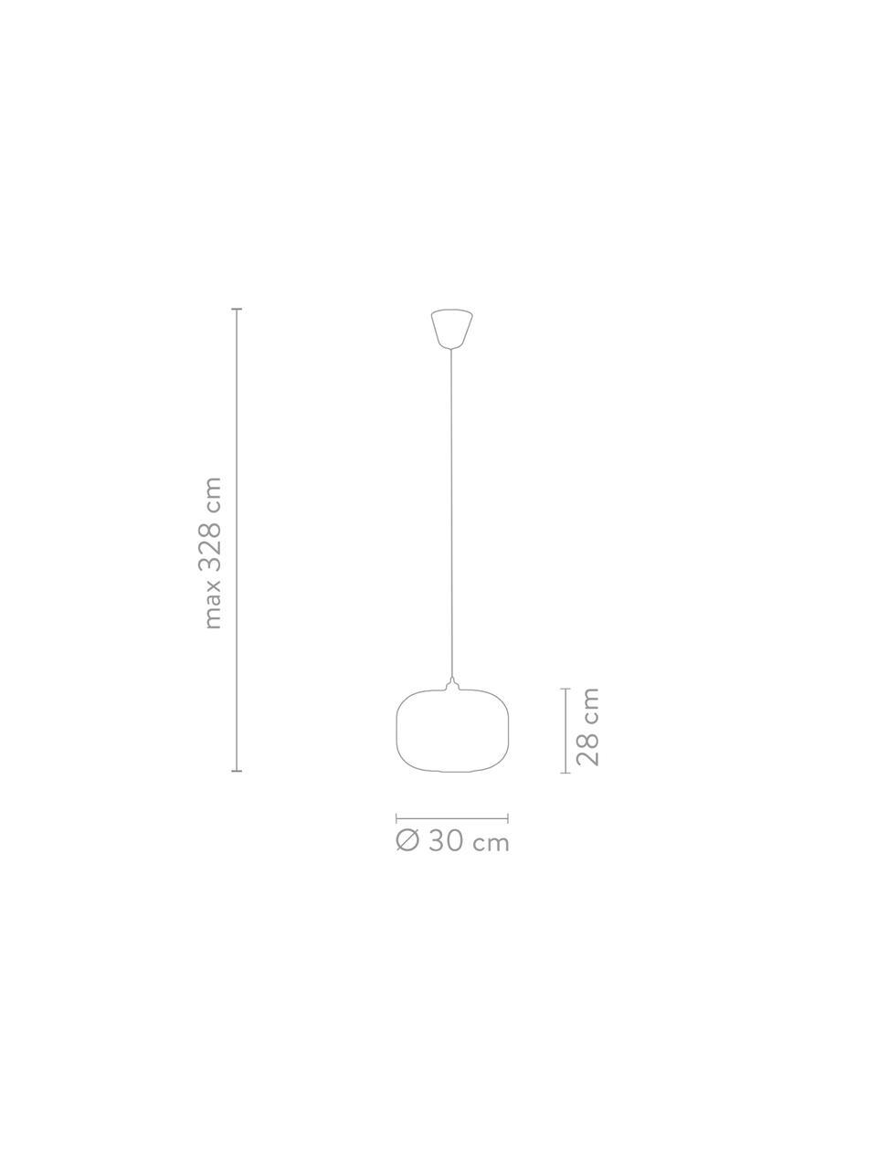 Lampada a sospensione in vetro opale Mildford, Paralume: vetro opale, Baldacchino: materiale sintetico, Bianco, Ø 30 x Alt. 28 cm