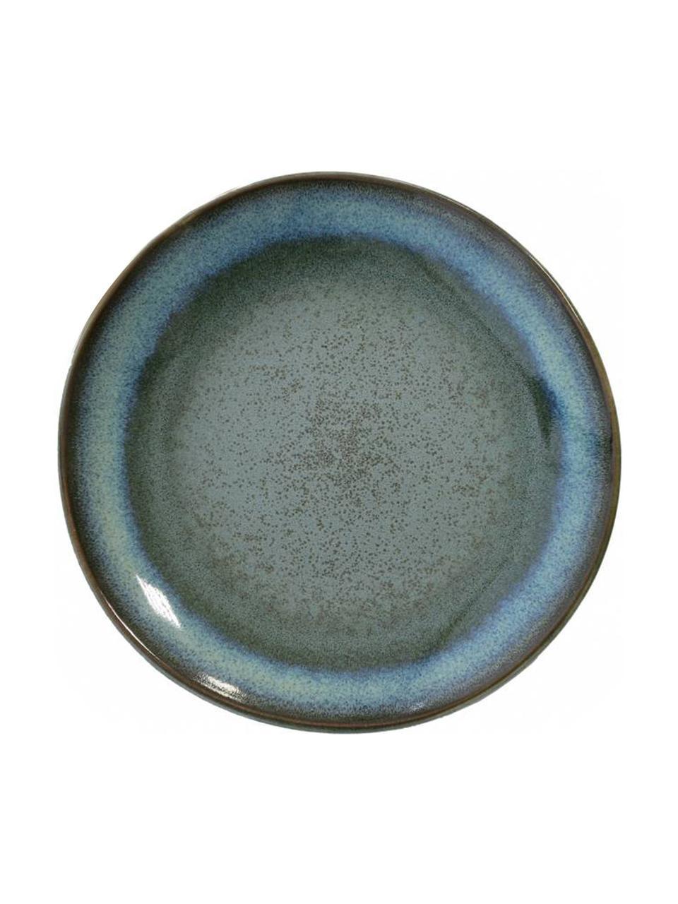 Piatto piano stile retrò fatto a mano 70's 2 pz, Gres, Tonalità blu, tonalità verdi, Ø 18 cm