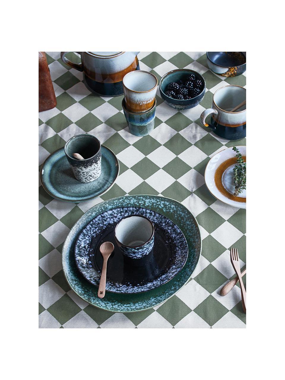 Handgemaakte taartborden 70's in retro stijl, 2 stuks, Keramiek, Blauwtinten, groentinten, Ø 18 cm