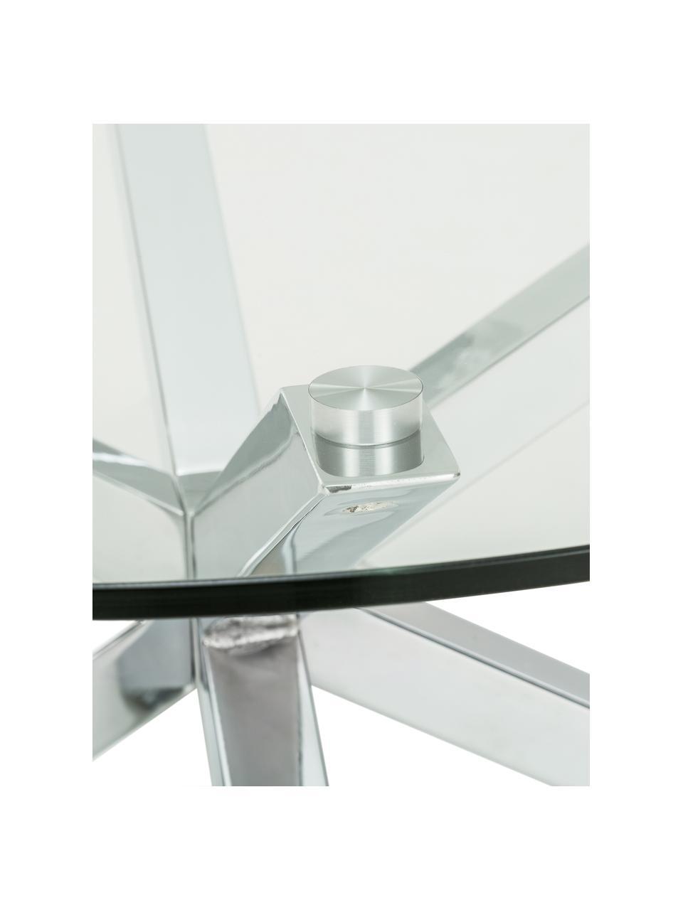 Tavolino da salotto in metallo con piano in vetro Emilie, Piano d'appoggio: vetro, Gambe: metallo cromato, Trasparente, cromo, Ø 82 x Alt. 40 cm
