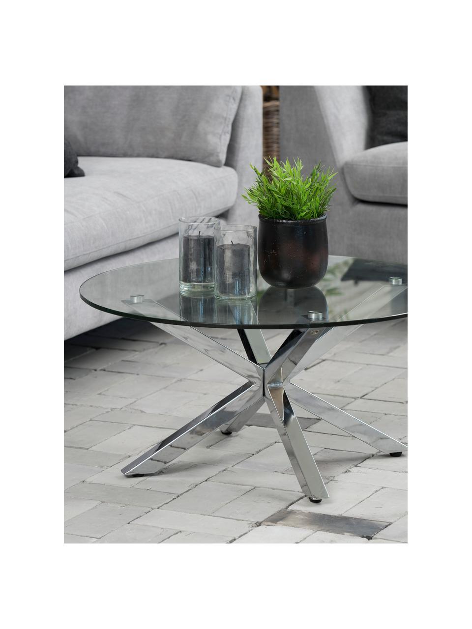 Stolik kawowy z metalu ze szklanym blatem Emilie, Blat: szkło, Nogi: metal, chromowany, Transparentny, srebrny, Ø 82 x W 40 cm