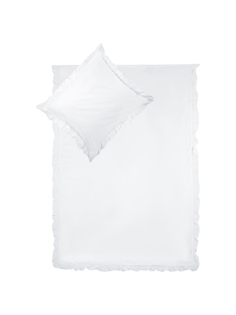 Gewassen katoenen dekbedovertrek Florence met franjes, Weeftechniek: perkal Draaddichtheid 180, Wit, 240 x 220 cm