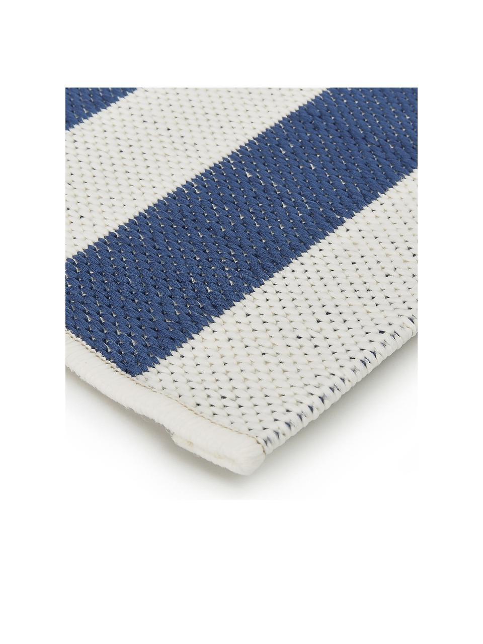 Gestreifter In- & Outdoor-Läufer Axa in Blau/Weiß, 86% Polypropylen, 14% Polyester, Cremeweiß, Blau, 80 x 250 cm