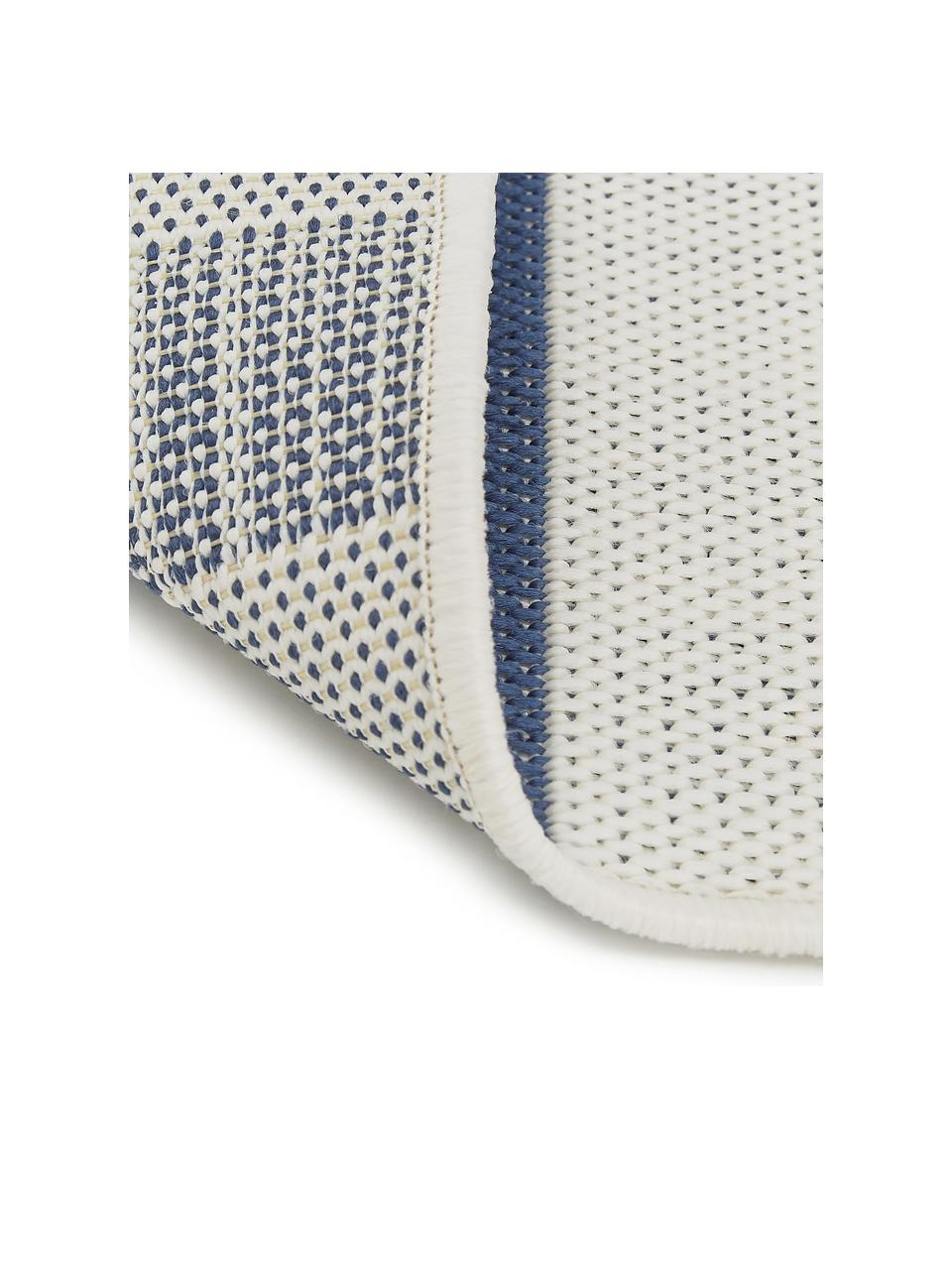 Passatoia blu/bianca a fantasia da interno-esterno Axa, 86% polipropilene, 14% poliestere, Bianco crema, blu, Larg. 80 x Lung. 250 cm