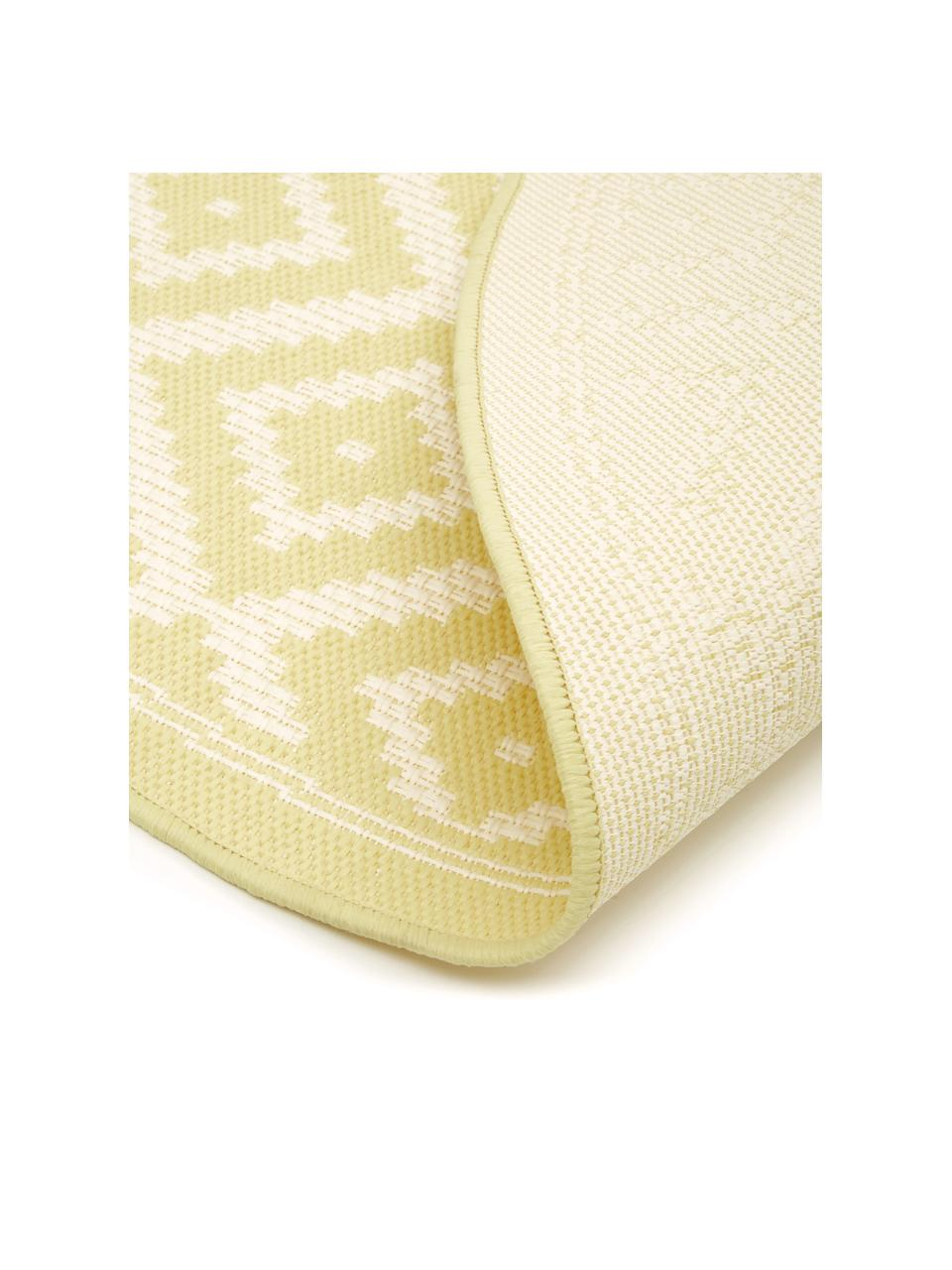 Gemusterter In- & Outdoor-Teppich Miami in Gelb/Weiß, 86% Polypropylen, 14% Polyester, Weiß, Gelb, Ø 200 cm (Größe L)