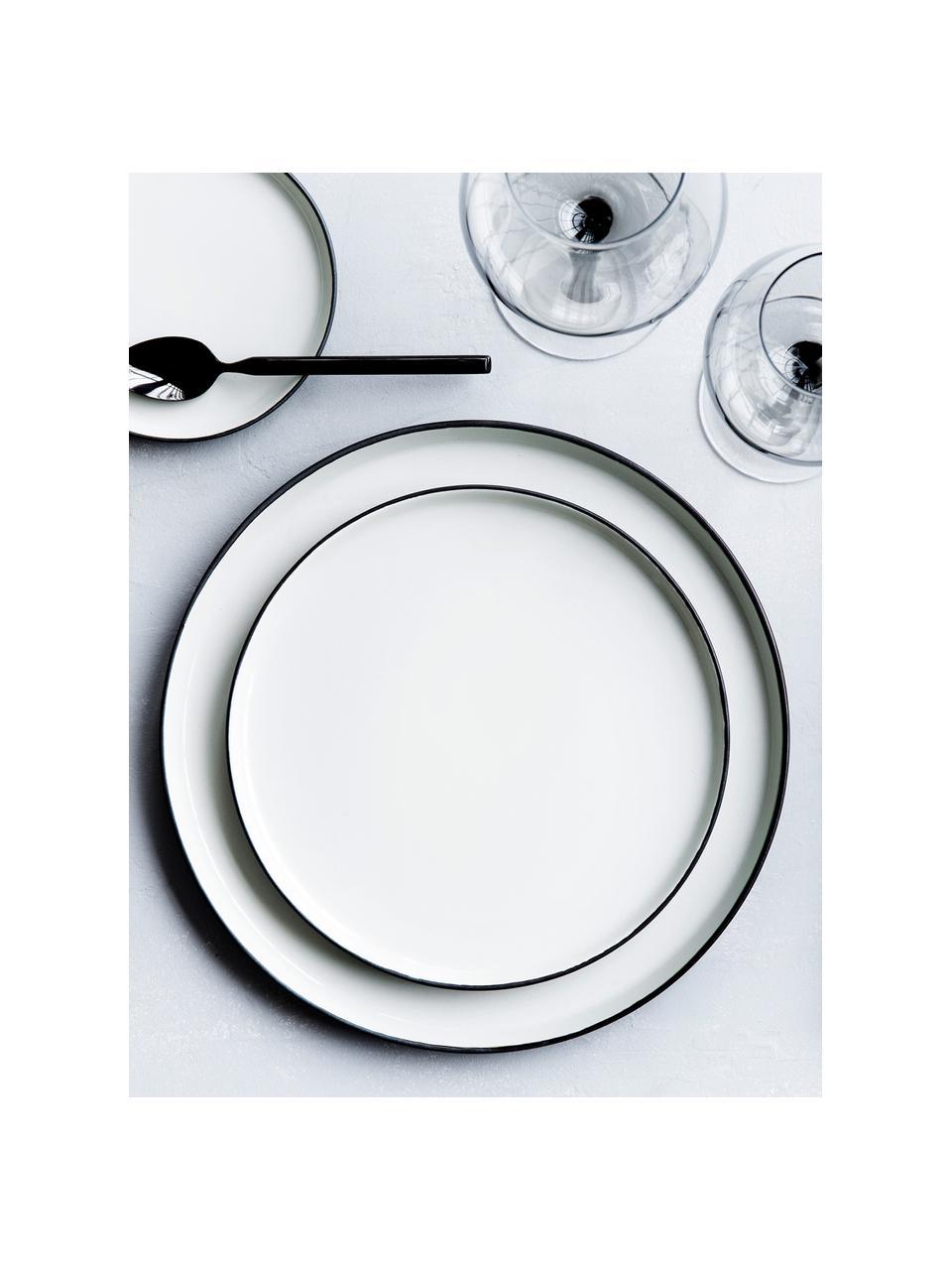 Ręcznie wykonany talerz śniadaniowy Esrum, 4 szt., Odcienie kości słoniowej, szarobrązowy, Ø 21 cm