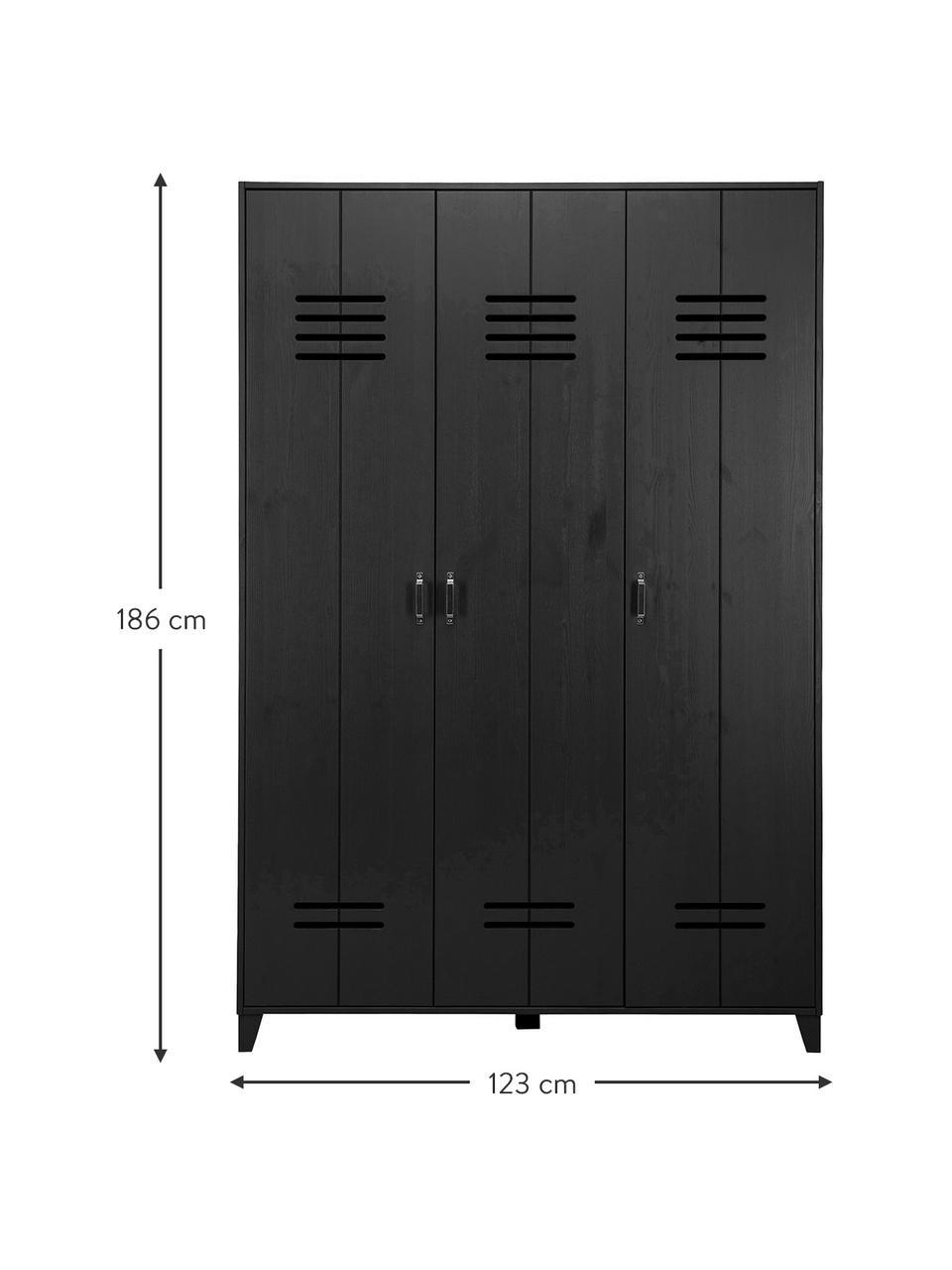 Holzkleiderschrank Locker in Schwarz, Kiefernholz, beschichtet, Schwarz, 123 x 186 cm