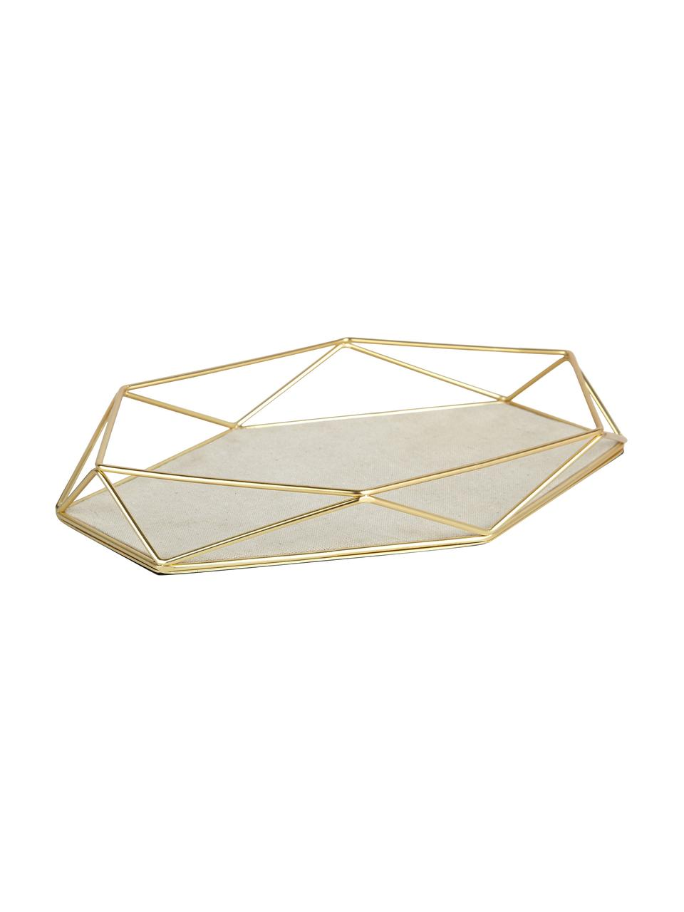 Vassoio decorativo Prisma, Struttura: acciaio ottonato placcato, Scaffale: acciaio, lino, Ottone, taupe chiaro, Larg. 28 x Alt. 4 cm