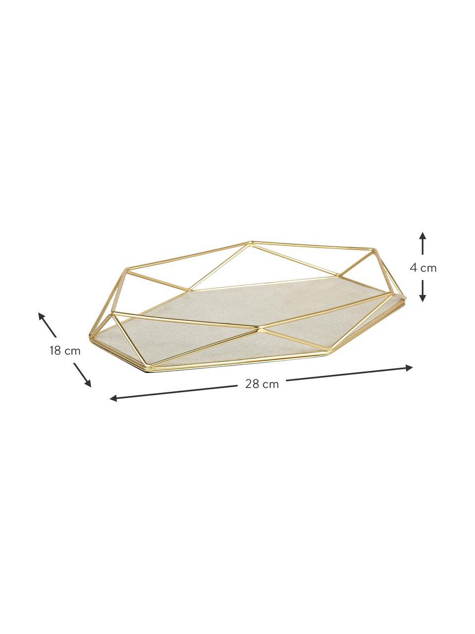 Deko-Tablett Prisma, Gestell: Stahl, vermessingt, Ablagefläche: Stahl, Leinen, Messing, Helles Taupe, 28 x 4 cm