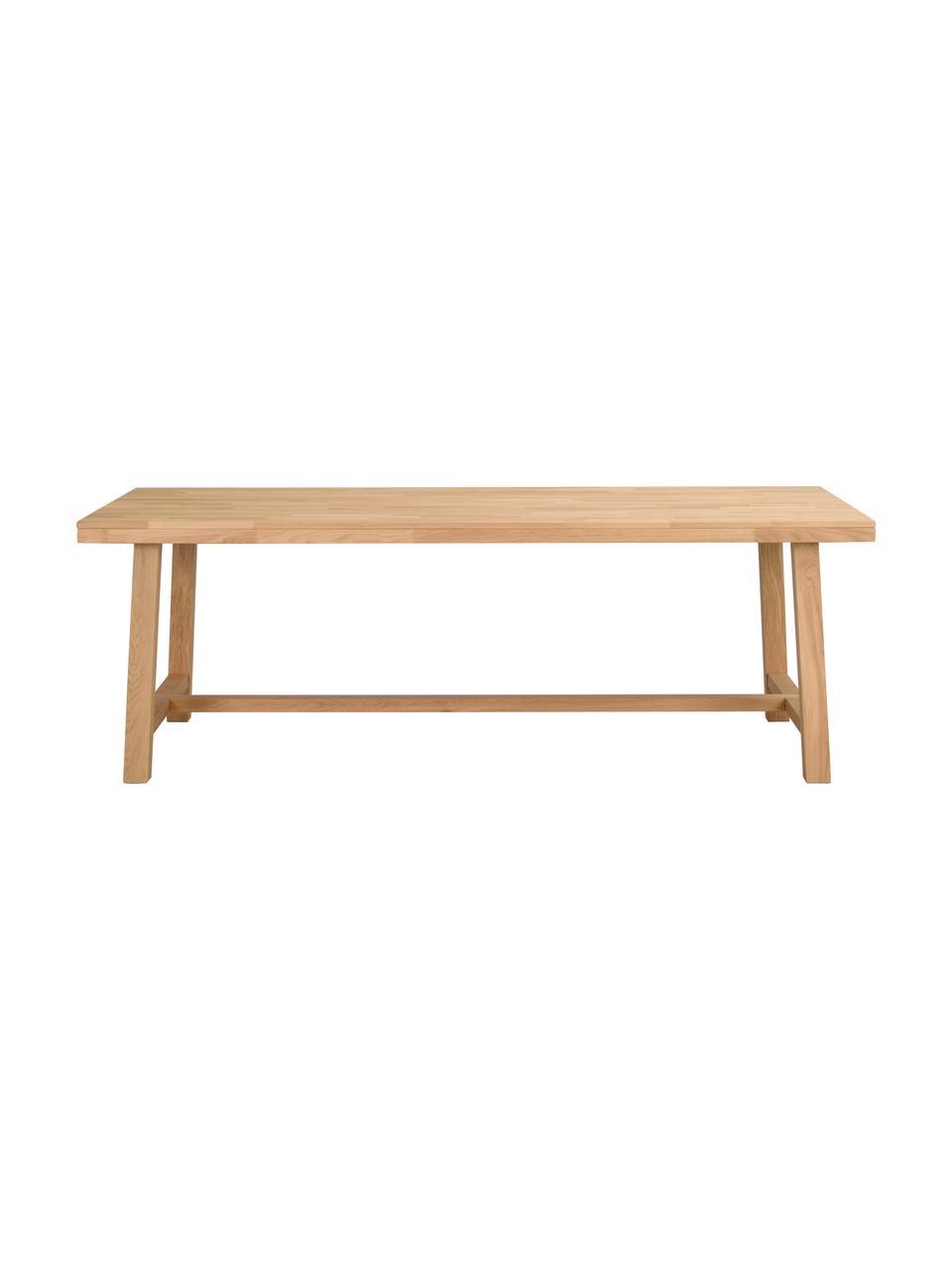 Verlängerbarer Esstisch Brooklyn mit Massivholzplatte, 220 - 270 x 95 cm, Massives Eichenholz, klar lackiert, Eichenholz, B 220 bis 270 x T 95 cm