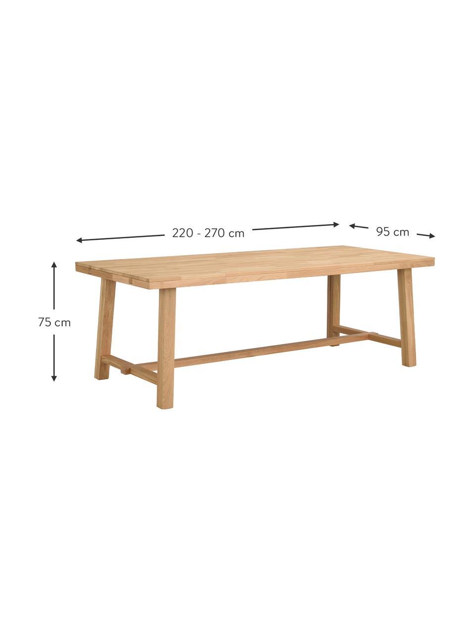 Stół rozsuwany do jadalni z blatem z litego drewna Brooklyn, Lite drewno dębowe, jasno lakierowane, Drewno dębowe, S 220 - 270 x G 95 cm