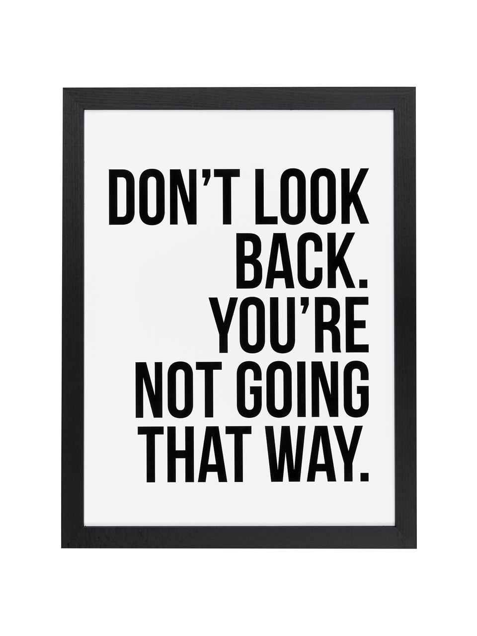 Ingelijste digitale print Don't Look Back, Afbeelding: digitale print op papier,, Lijst: gelakt hout, Afbeelding: zwart, wit. Lijst: zwart, 33 x 43 cm