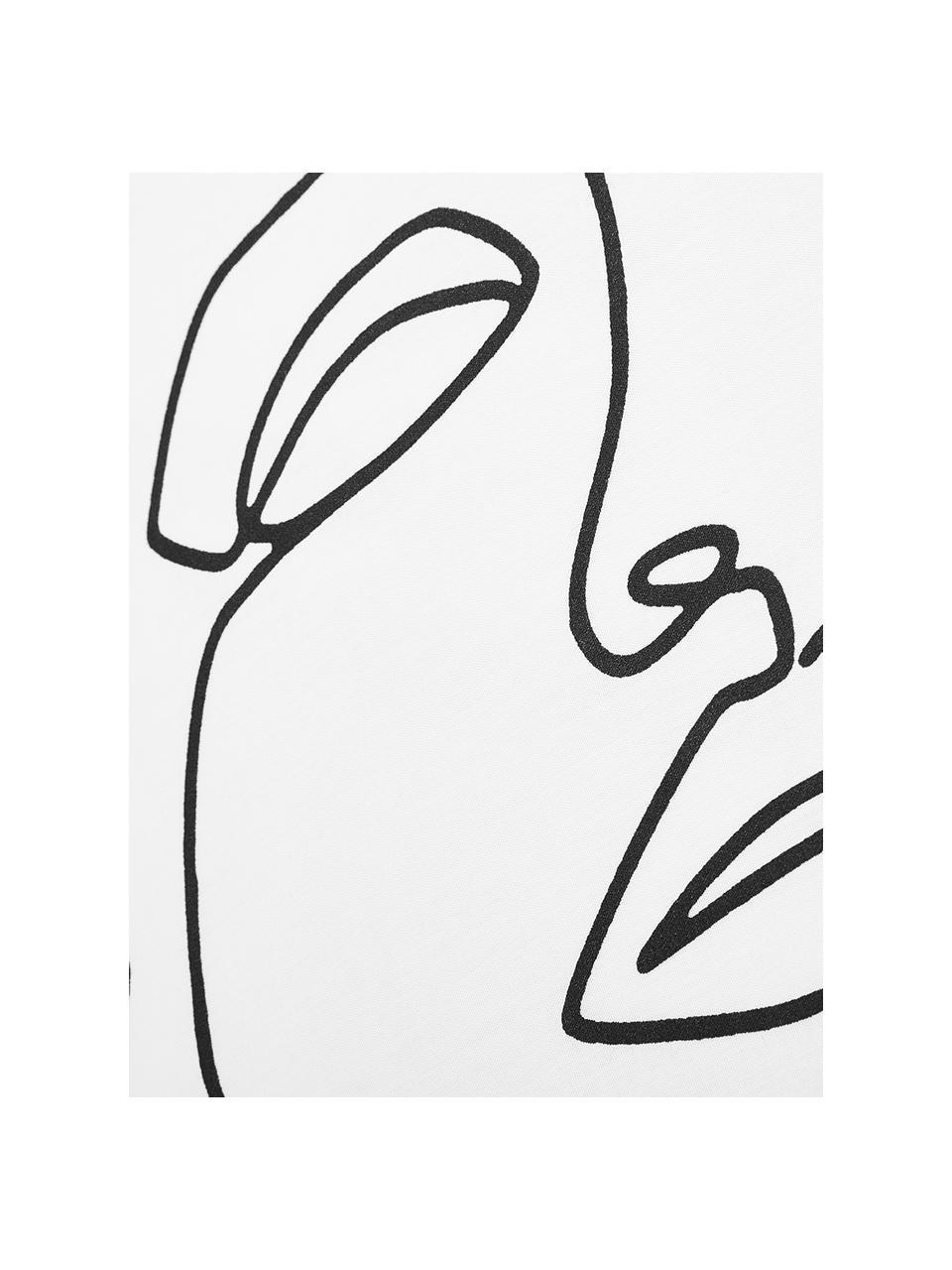 Perkálové povlečení skresbou Aria, Bílá, černá