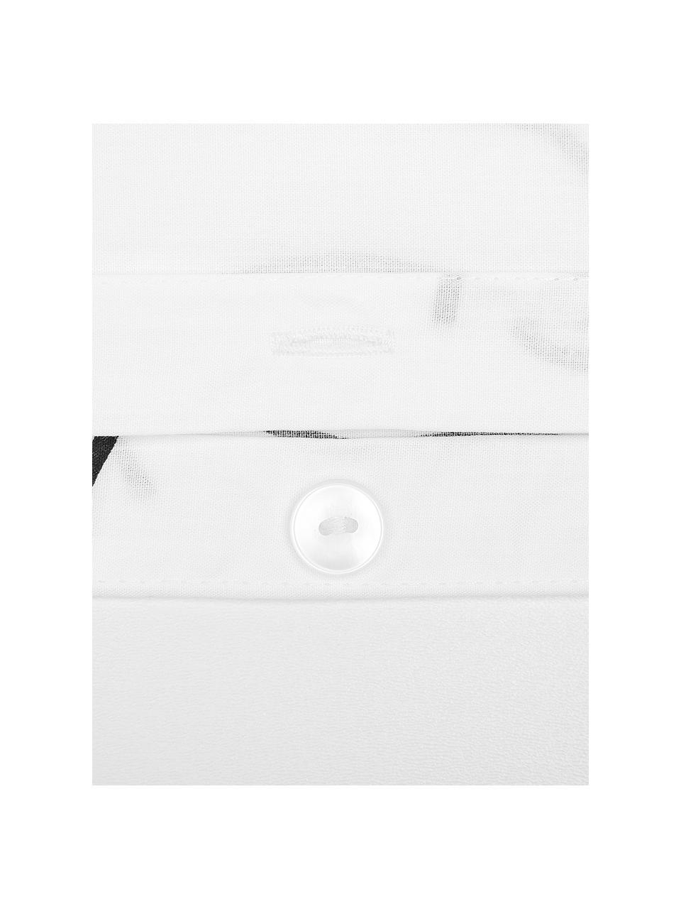 Pościel z perkalu Aria, Biały, czarny, 135 x 200 cm + 1 poduszka 80 x 80 cm