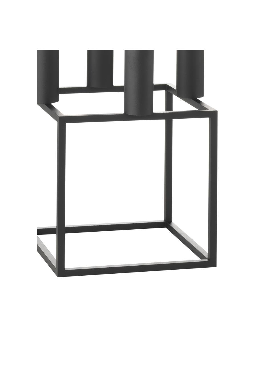 Kandelaar Kubus, Gelakt staal, Zwart, 14 x 20 cm