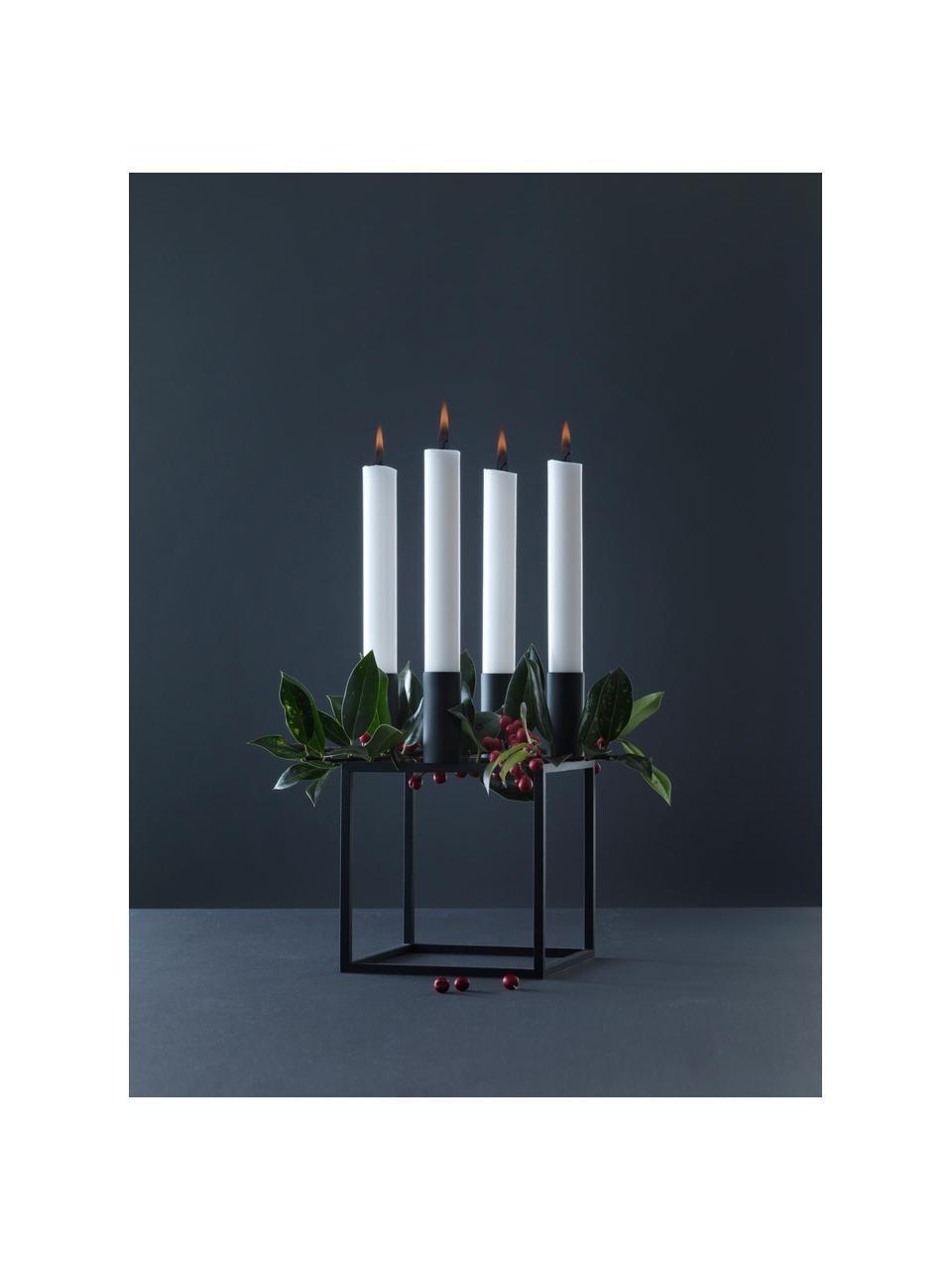 Kerzenhalter Kubus, Stahl, lackiert, Schwarz, 14 x 20 cm