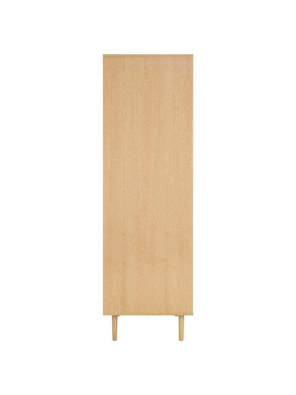 Kleiderschrank Aries in Eichenholzfarben, Gestell: Spanplatte mit Eichenholz, Beine: Massives Eichenholz, Wiener Geflecht: Zuckerrohr, Helles Holz, 100 x 194 cm