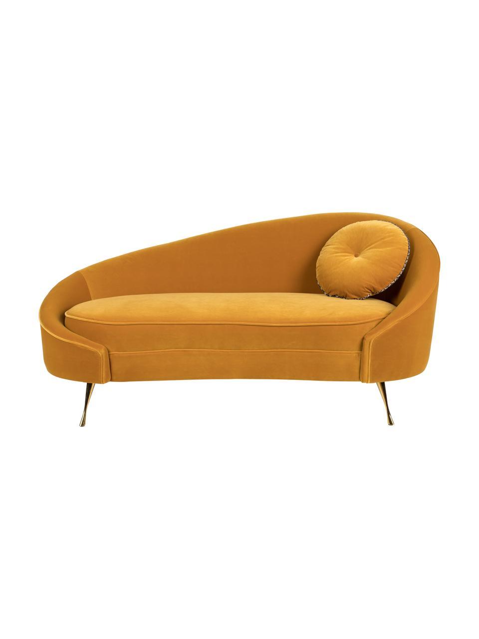 Designer Samt-Sofa I Am Not A Croissant (2-Sitzer) in Gelb, Bezug: Polyestersamt 30 000 Sche, Füße: Edelstahl, beschichtet, Rahmen: Sperrholz, Samt Ockergelb, 168 x 76 cm