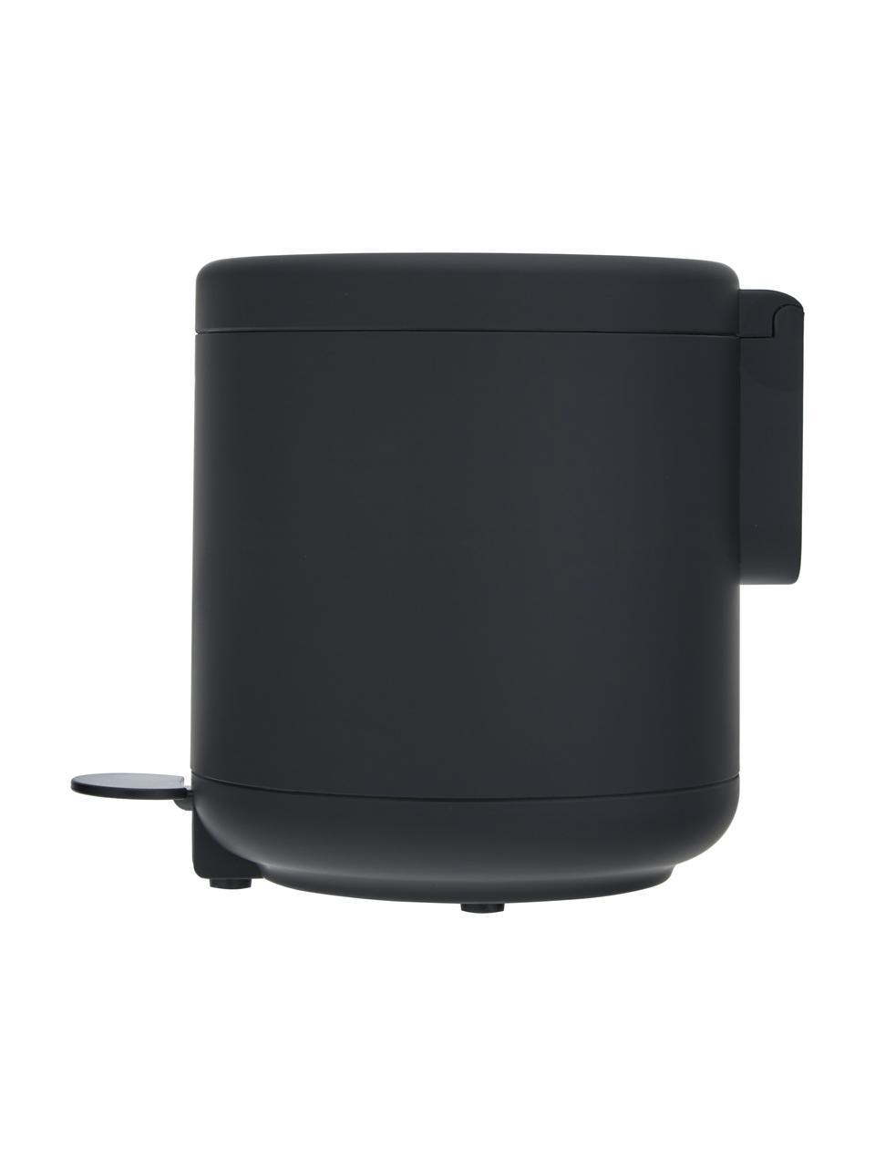 Kosz na śmieci z funkcją pedału Ume, Tworzywo sztuczne (ABS), Czarny, matowy, Ø 20 x W 22 cm