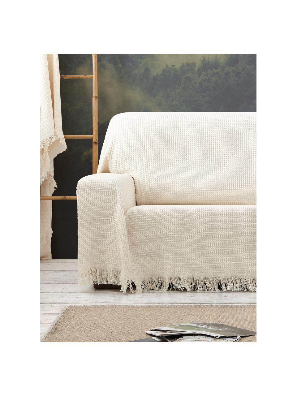 Copridivano multifunzionale Amazonas, 80% cotone, 20% altre fibre, Color crema, Larg. 180 x Lung. 260 cm