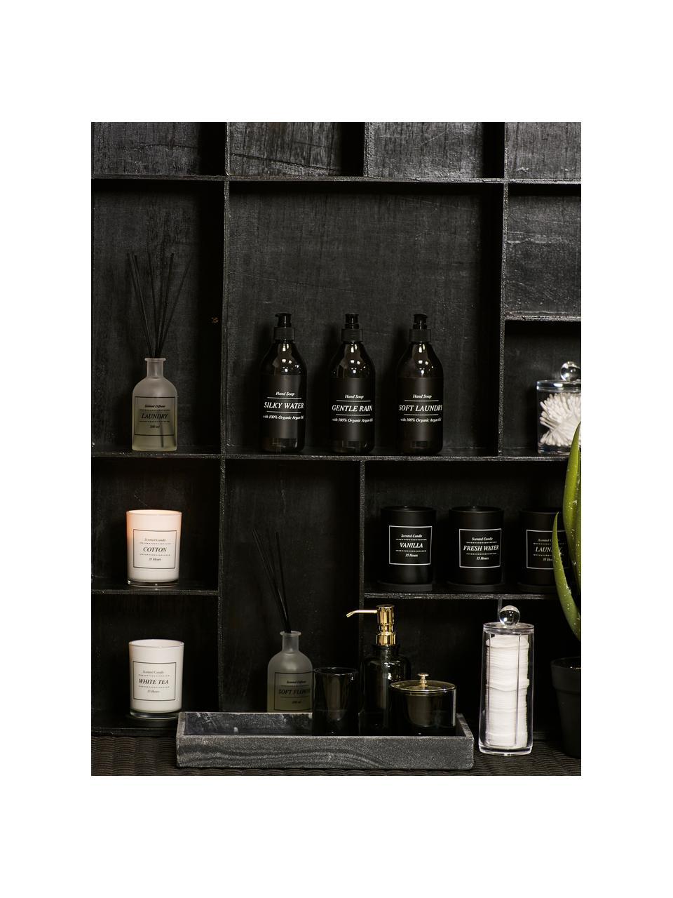 Duftkerze Laundry (Frische Wäsche), Deckel: Holz, Schwarz, Weiß, Ø 8 x H 10 cm