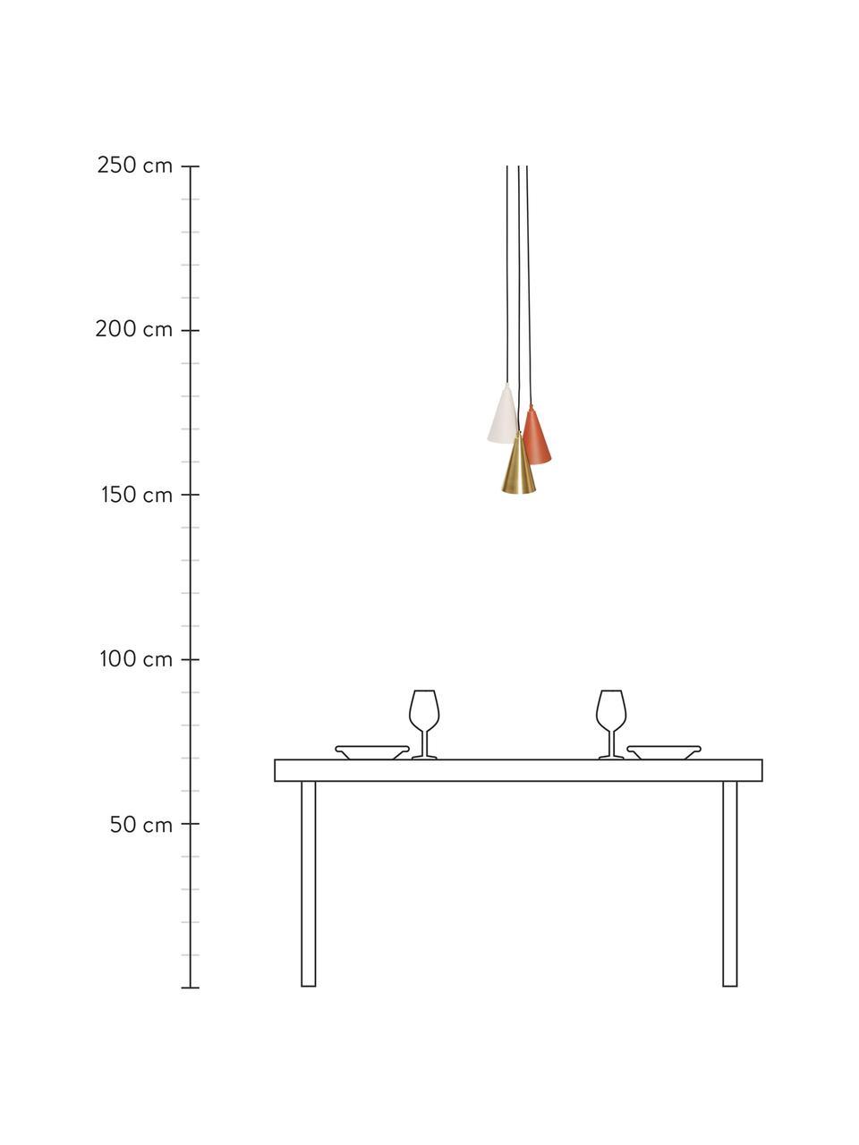Kleine Cluster-Pendelleuchte Tonte aus Metall, Baldachin: Messing, Braun, Beige, Messingfarben, Ø 14 x H 23 cm