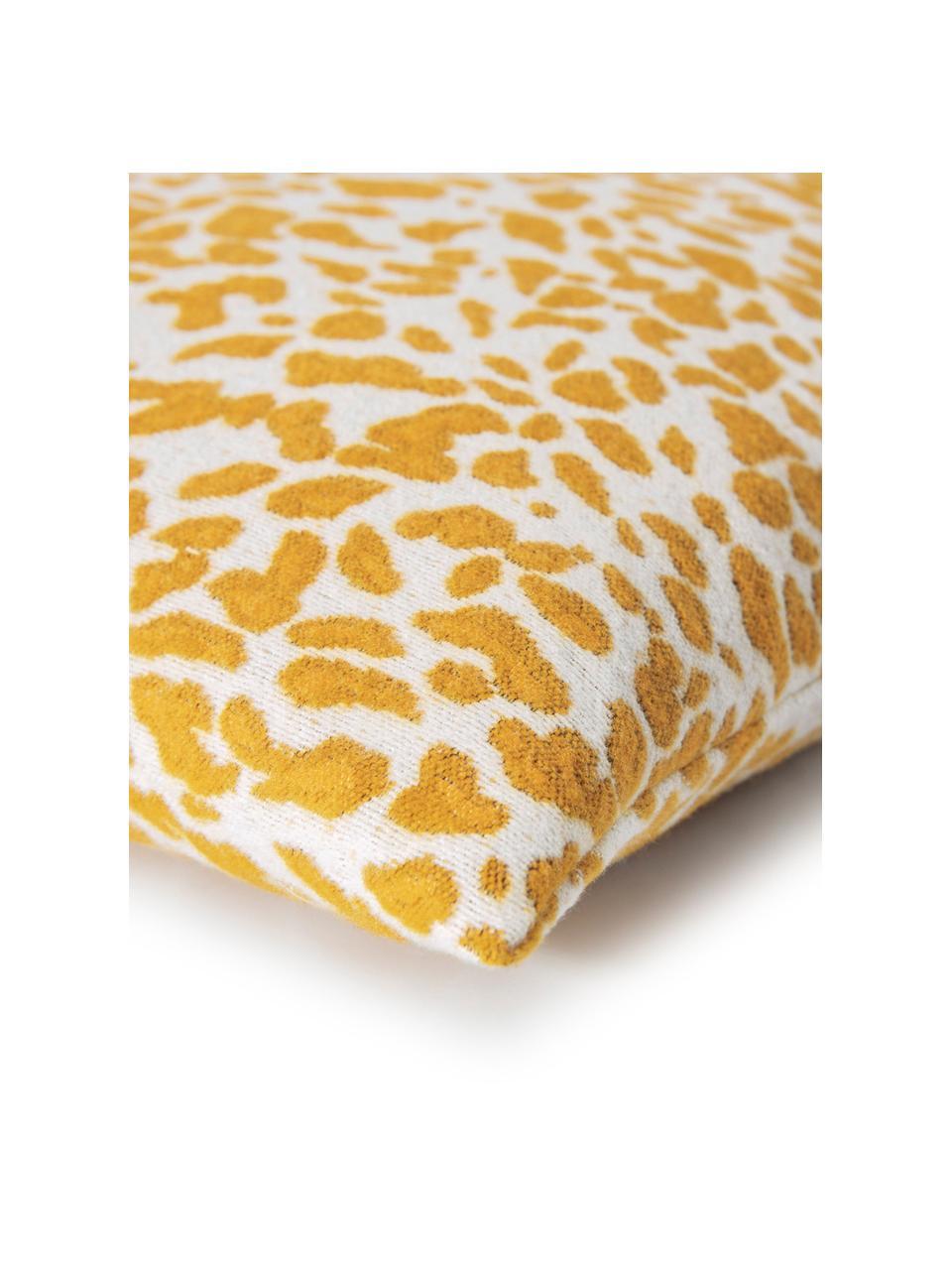 Kissenhülle Sana mit Leoparden-Print in Gelb/Weiß, Webart: Jacquard, Senfgelb, Weiß, 50 x 50 cm