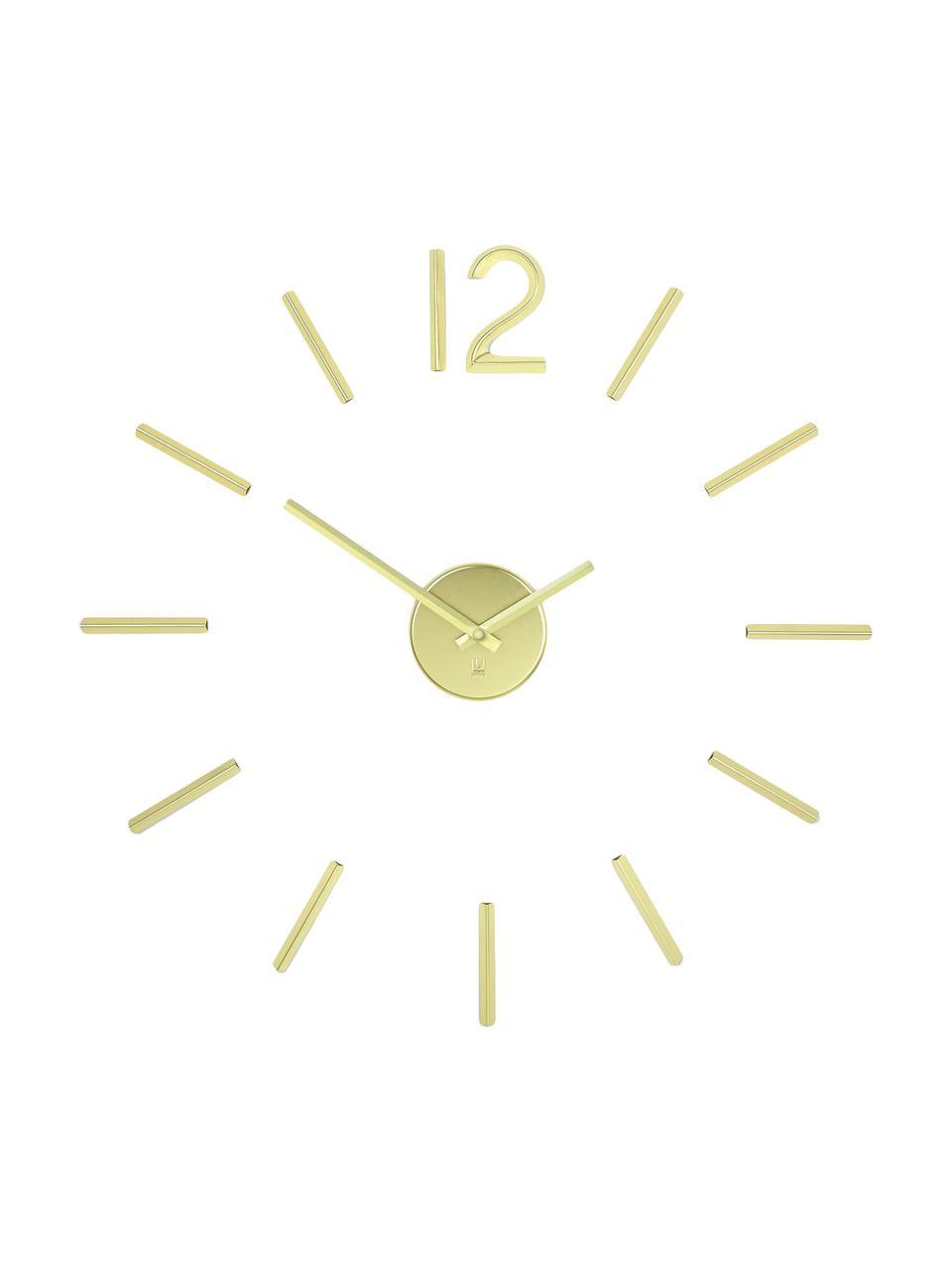 Zegar ścienny Blink, Metal powlekany, Odcienie złotego, Ø 100 cm