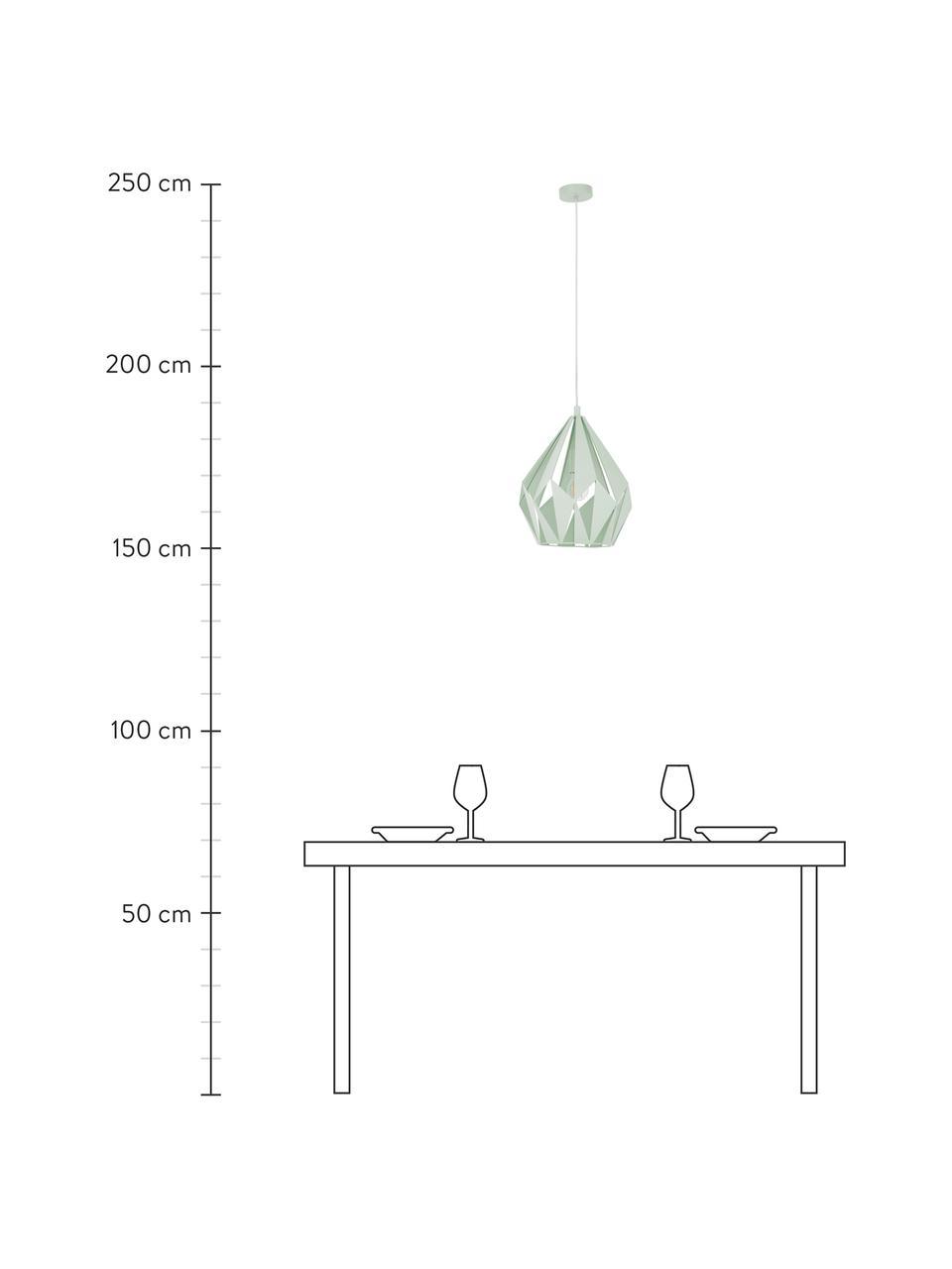 Lampa wisząca w stylu scandi Carlton, Jasny zielony, Ø 31 x W 40 cm