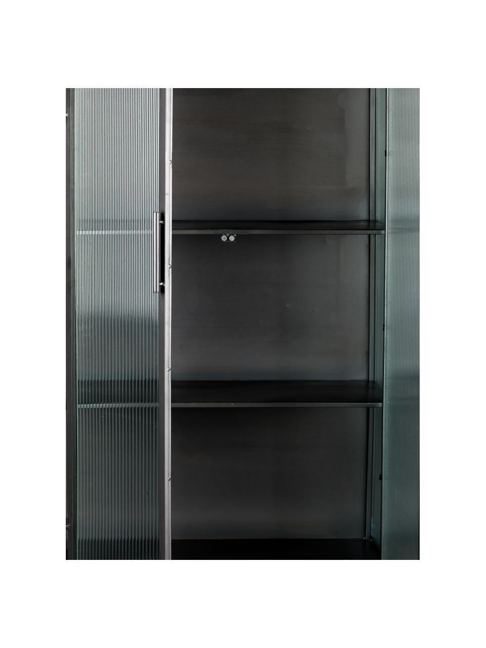 Vetrina alta nera con struttura in metallo Boli, Struttura: metallo rivestito, Nero, semi trasparente, Larg. 70 x Alt. 178 cm