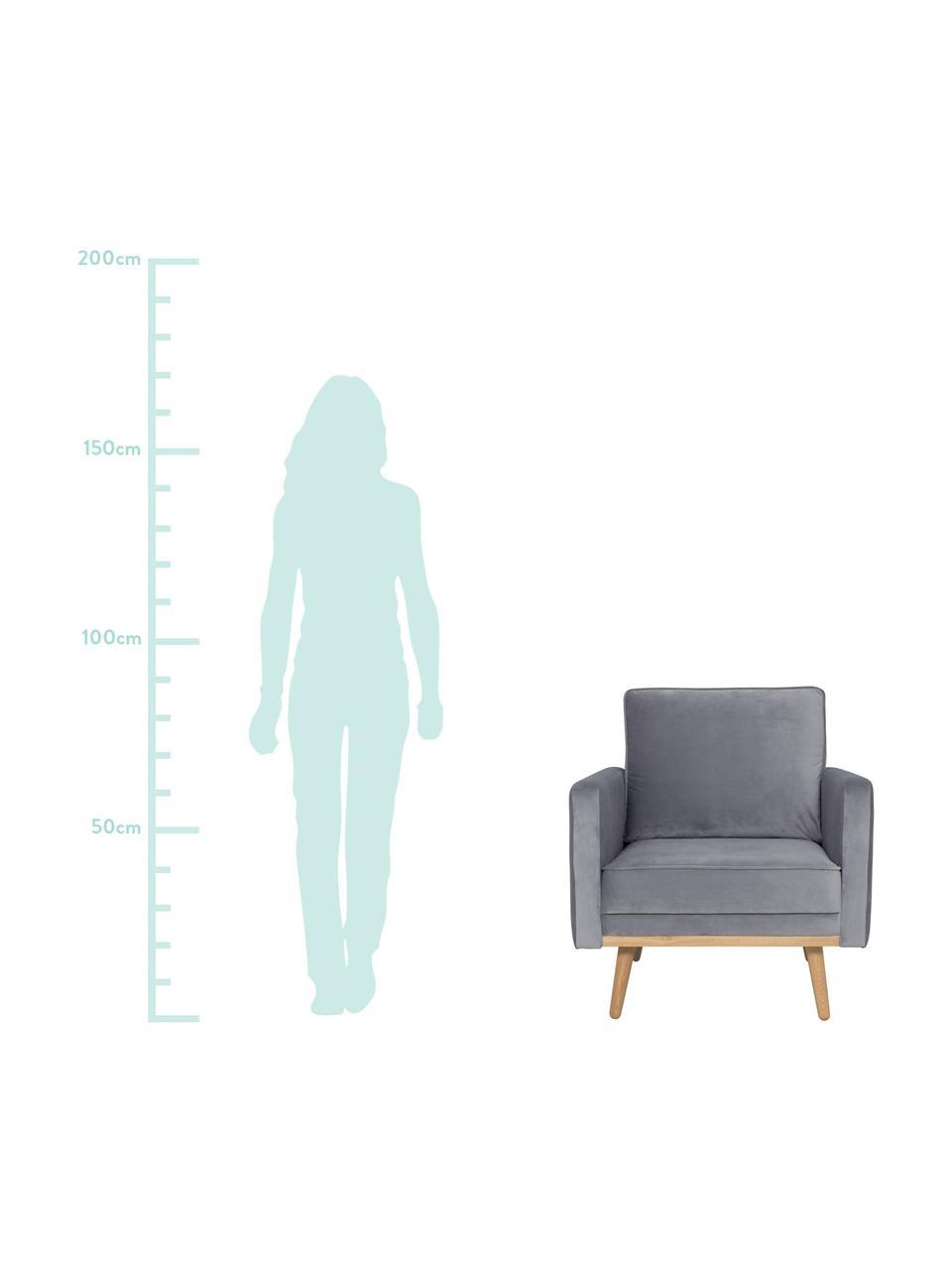 Samt-Sessel Saint in Grau mit Eichenholz-Füßen, Bezug: Samt (Polyester) Der hoch, Gestell: Massives Eichenholz, Span, Samt Grau, B 85 x T 76 cm