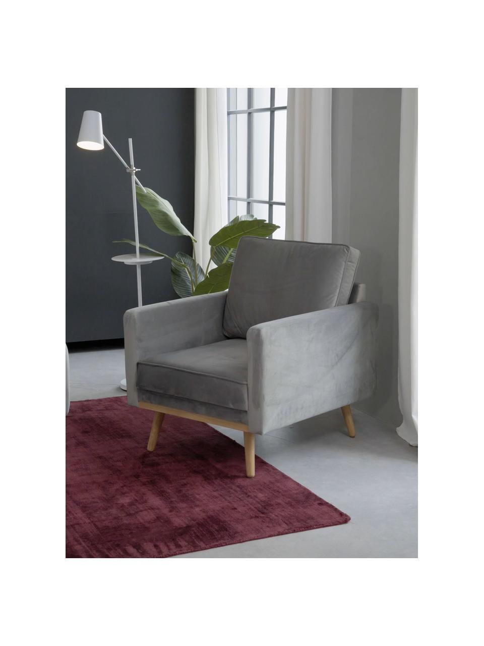 Fotel z aksamitu z nogami z drewna dębowego Saint, Tapicerka: aksamit (poliester) Dzięk, Aksamitny szary, S 85 x G 76 cm