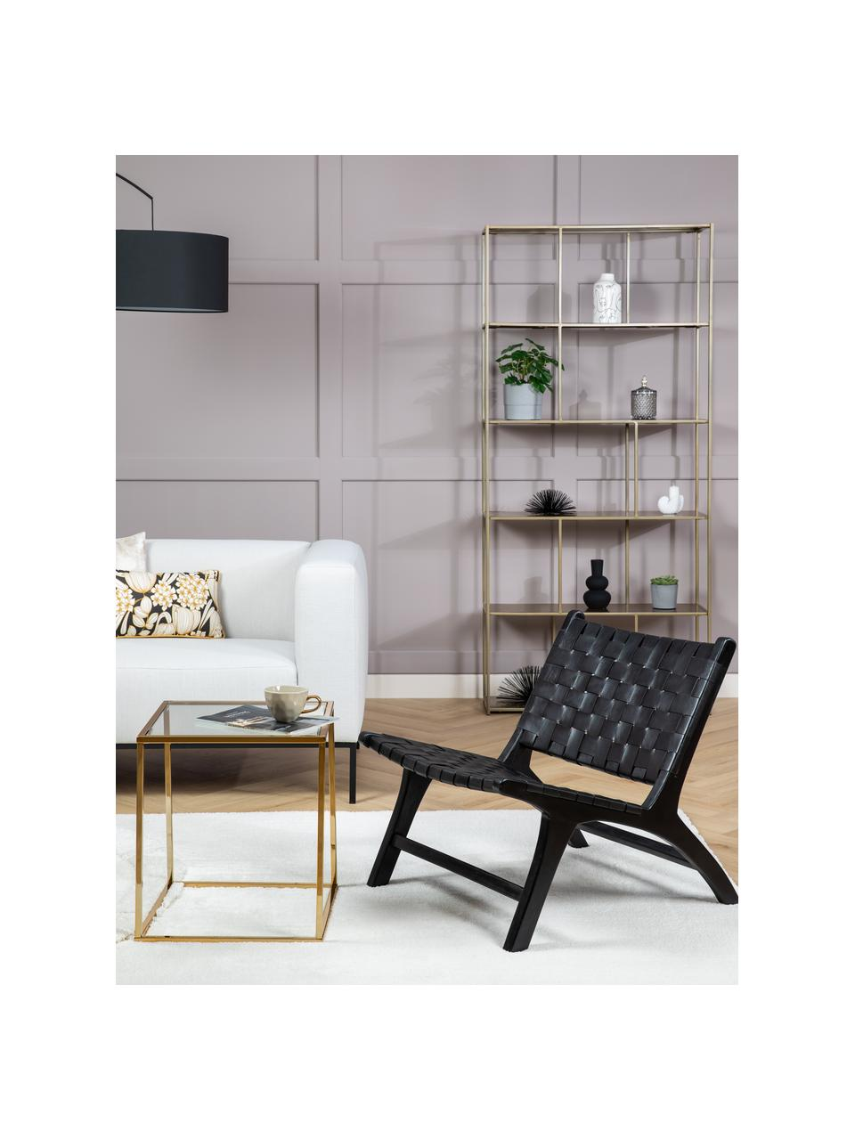 Sedia a poltrona in pelle Calixta, Struttura: legno di mogano, Seduta: pelle, Nero, Larg. 65 x Prof. 76 cm