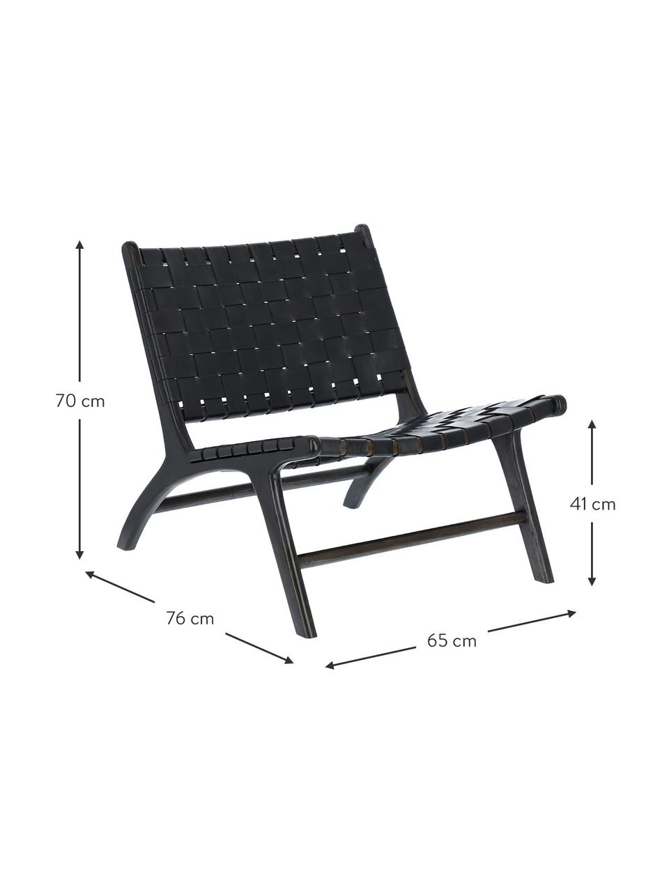 Fotel wypoczynkowy ze skóry Calixta, Czarny, S 65 x G 76 cm