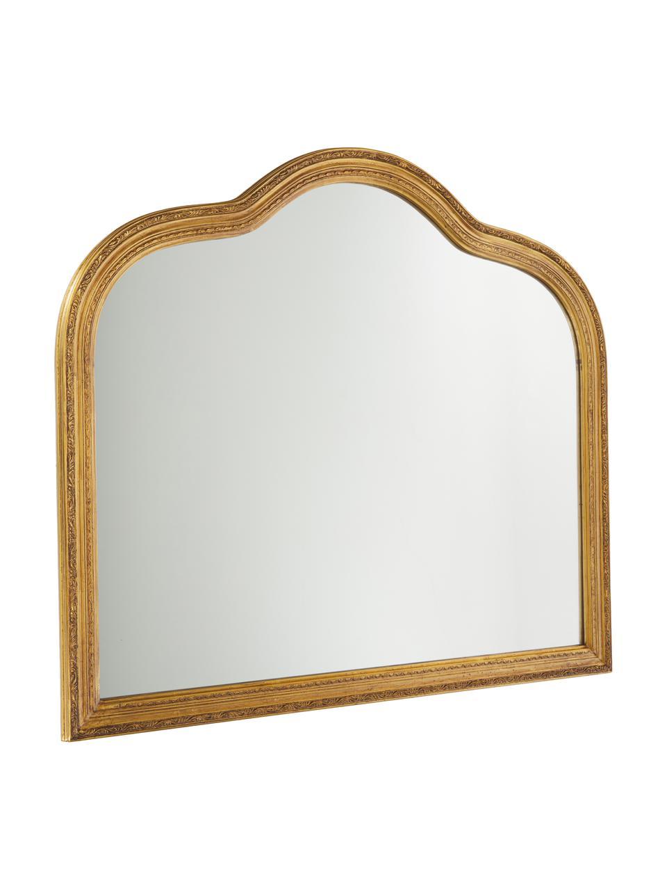 Barock-Wandspiegel Muriel, Rahmen: Massivholz mit Goldfolie , Spiegelfläche: Spiegelglas, Rückseite: Metall, Mitteldichte Holz, Gold, 90 x 77 cm